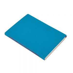 Blue sketchbook with red hand stitching