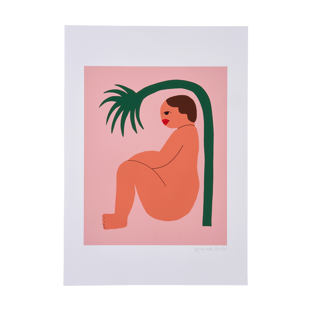 An illustrated woman sat underneath a green branch