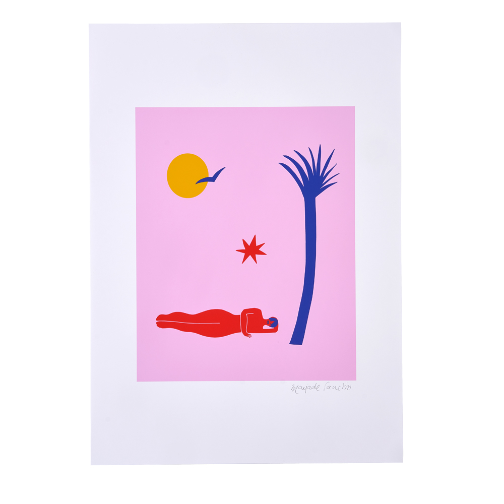 An illustrated woman laid under a blue tree, yellow sun, red star and blue bird