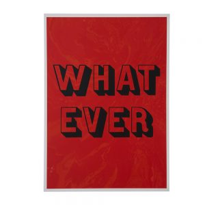 'Whatever' on a red marbled background