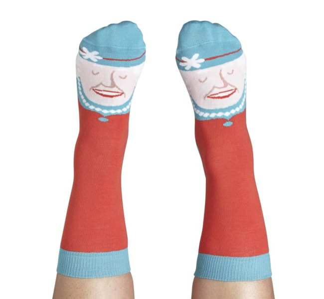 Red socks with a Queens face design