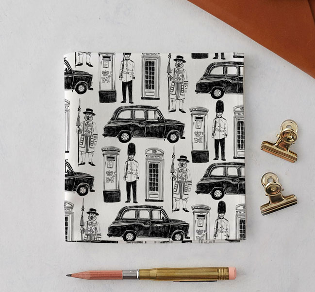 Handkerchief with a black taxi, letterbox and Soldier design.