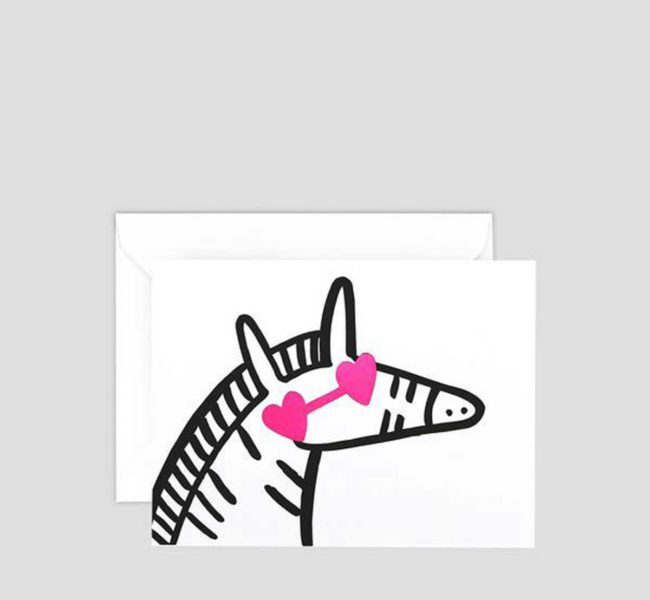Greetings card with an illustration of a zebra with heart shaped sunglasses on.