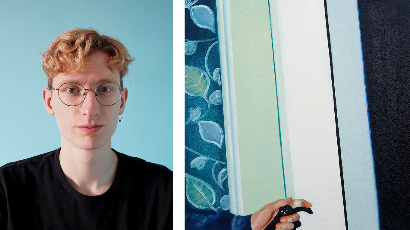 Left: Josh Crowe portrait. Right: Painting by Josh Crowe