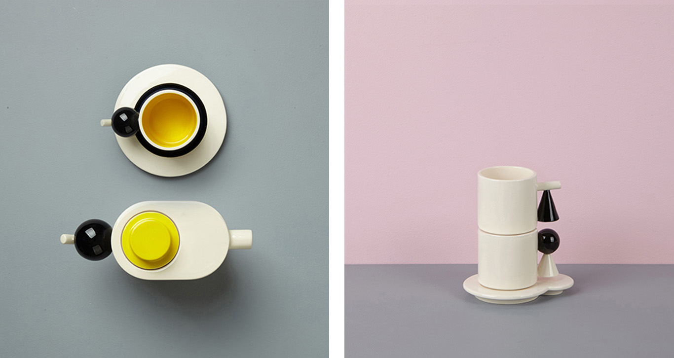left image is a top down shot of a teapot and cup and saucer. Right image is of two cups stacked on top of each other.