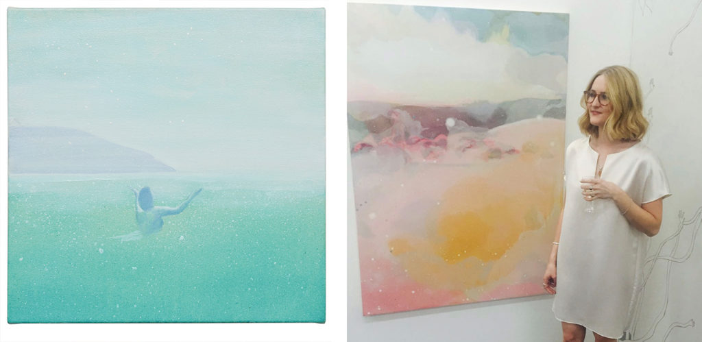 Left: Painting by Katie Fletcher. Right: Katie Fletcher standing besides one of her paintings.