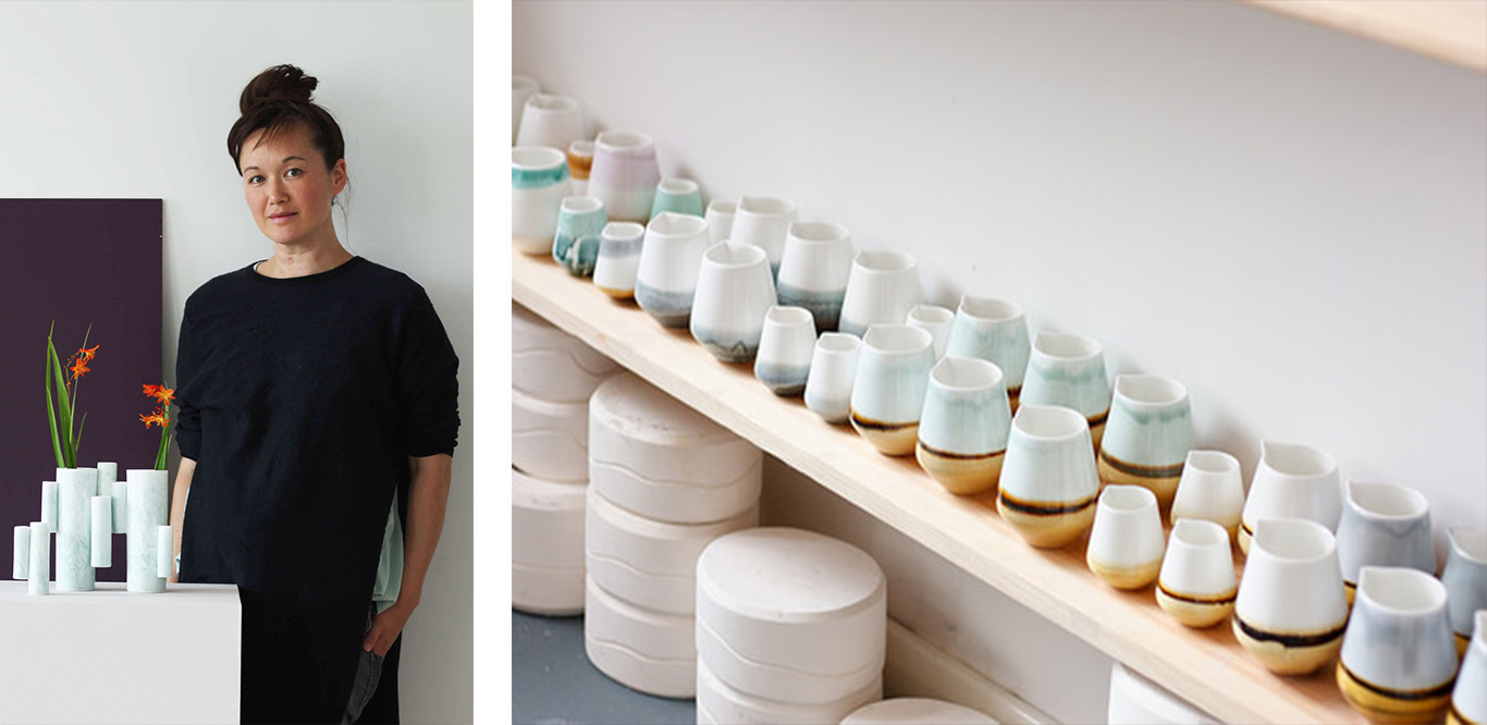Left: Reiko Kaneko portrait. Right: Selection of ceramic jugs.