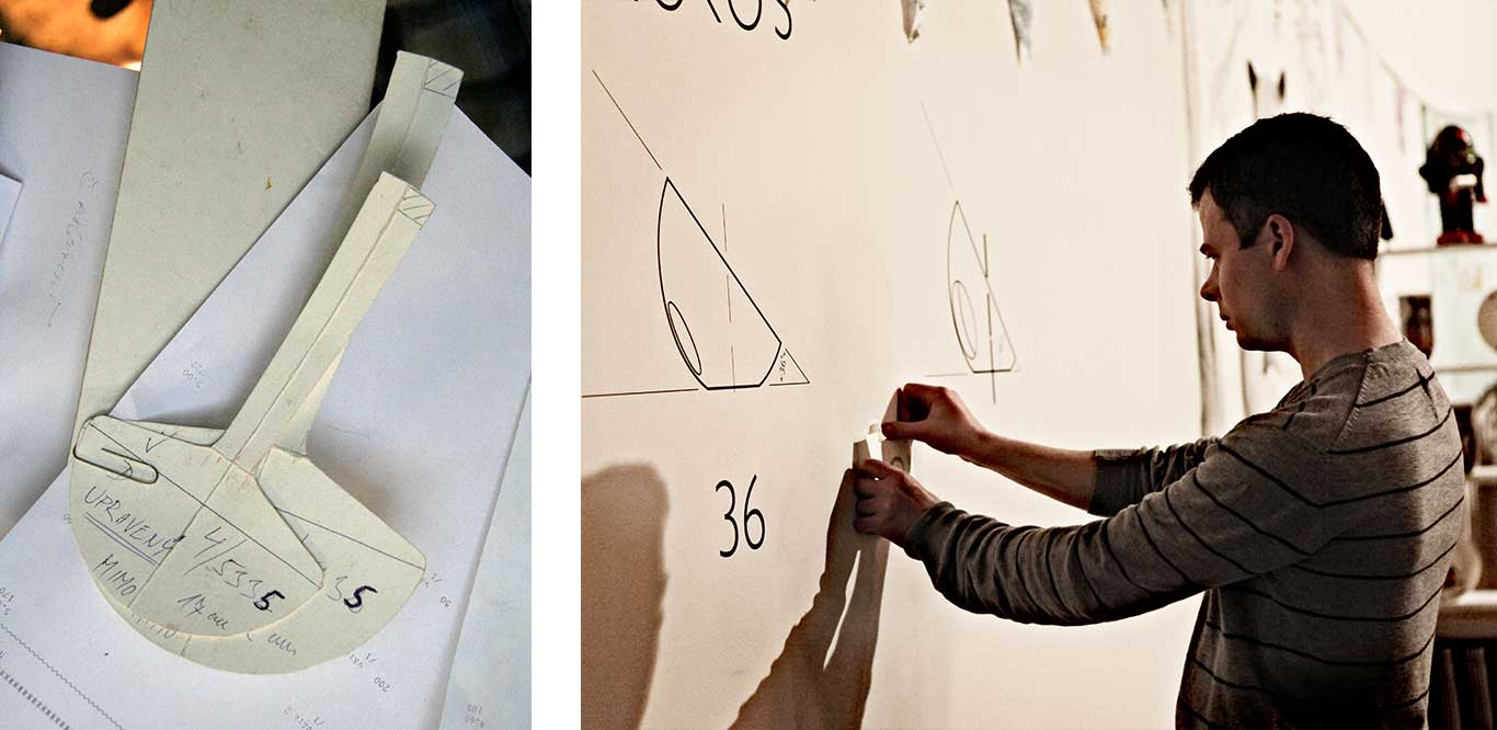 Left: Paper template. Right: Artist taping a paper template to a wall.