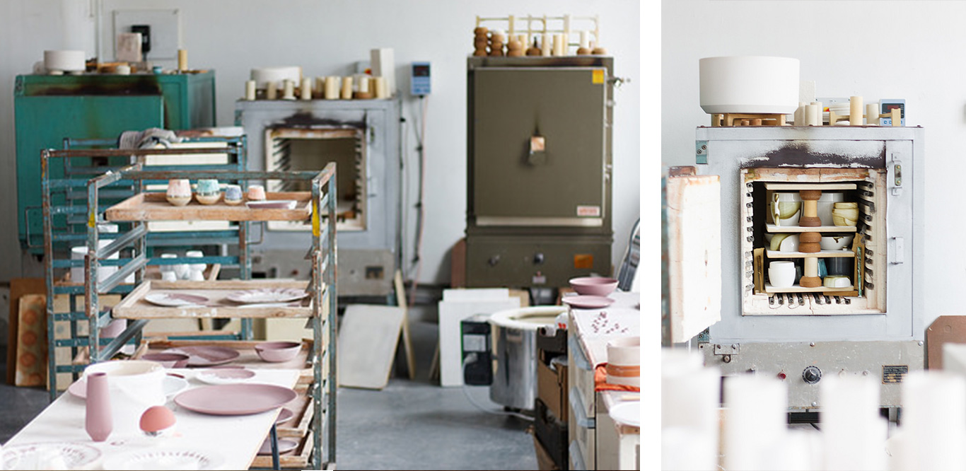 Left: Image of the Reiko Kaneko's studio. Right: Image of a kiln.
