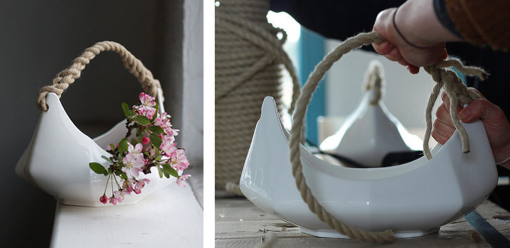 Two images of a ceramic flower basket.