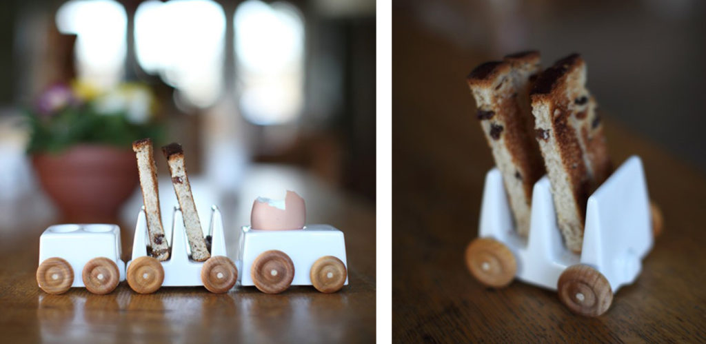 Close up images of ceramic train toast holder
