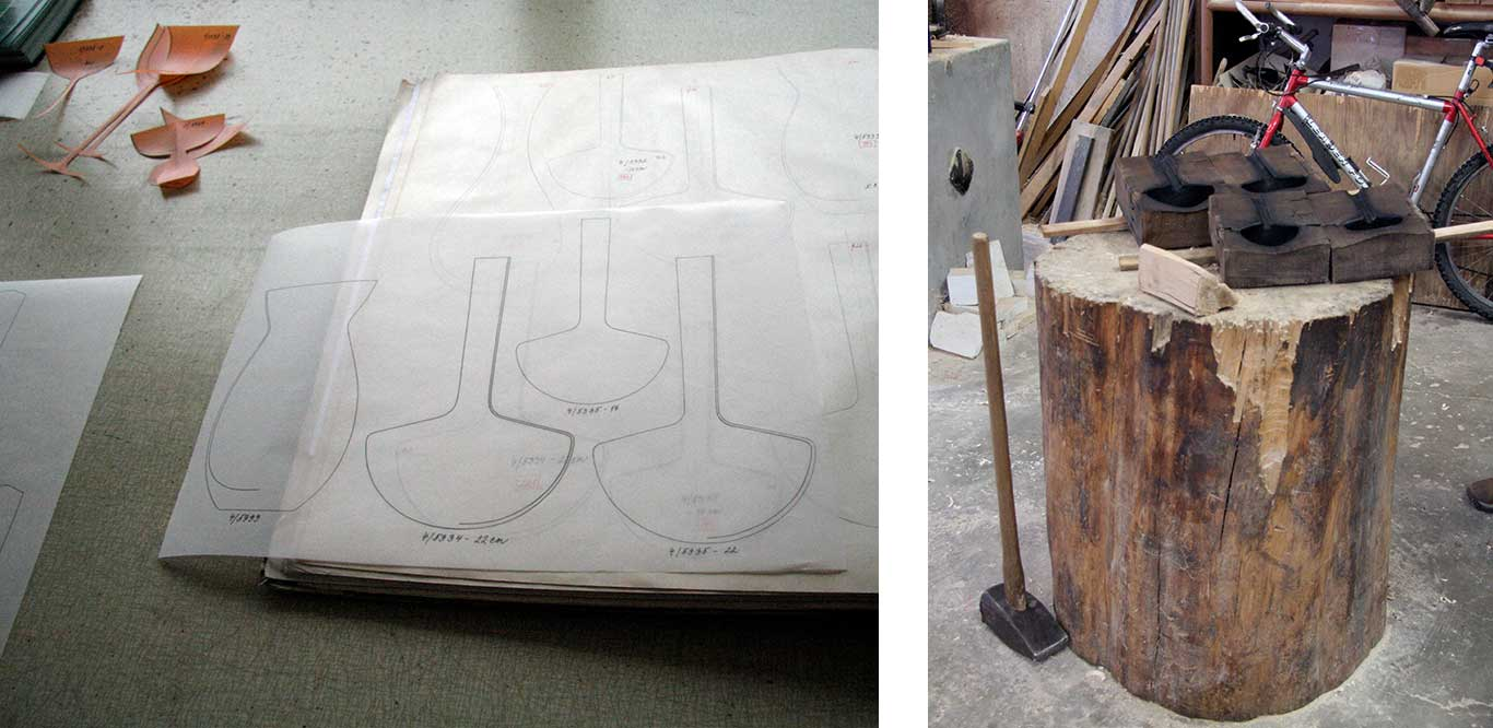 Left: Paper templates. Right: Wooden chopping block and large hammer.