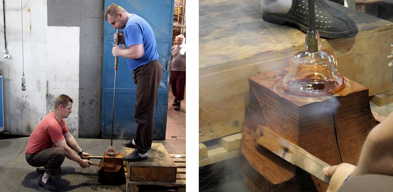 Left: Two men blowing glass. Right: Close up of glass being blown.