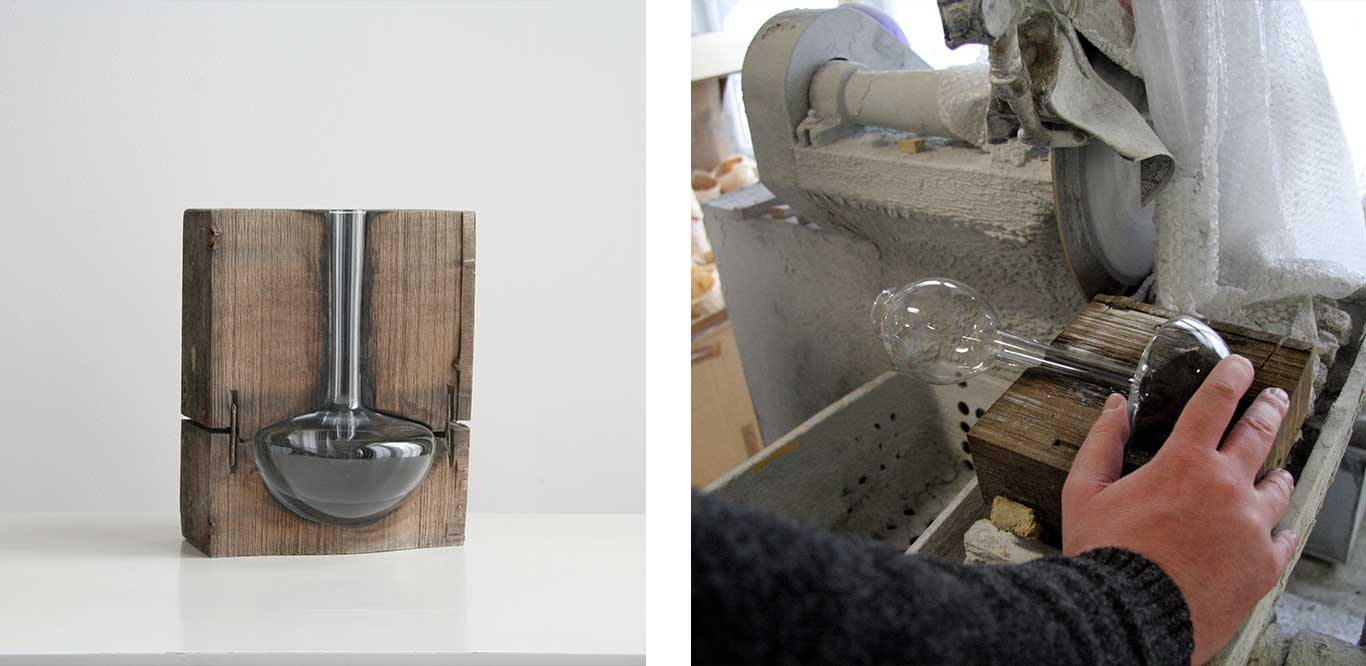Left: Glass vase in wooden mould block. Right: Glass vase being cut out of wooden mould.