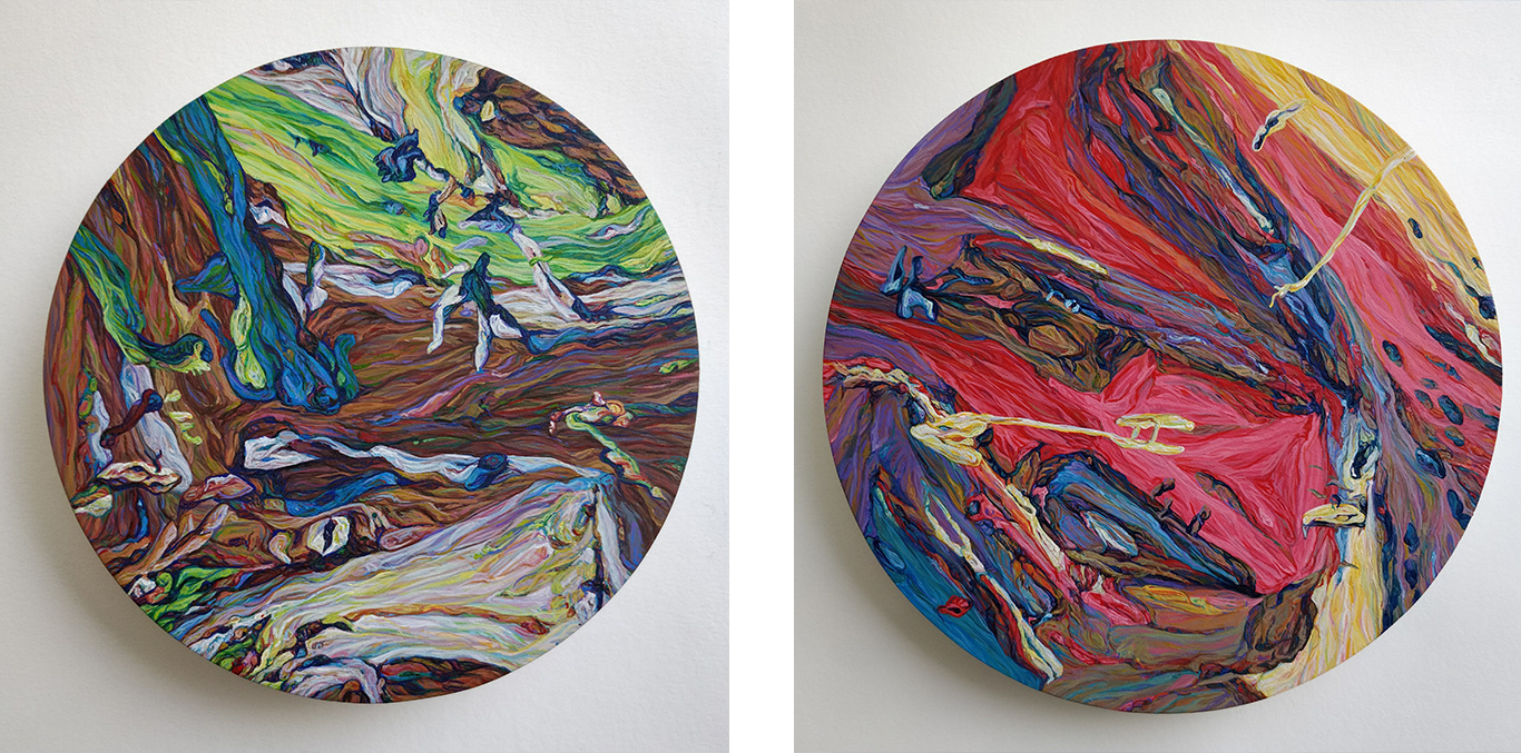 Two paintings by Becky Hanney
