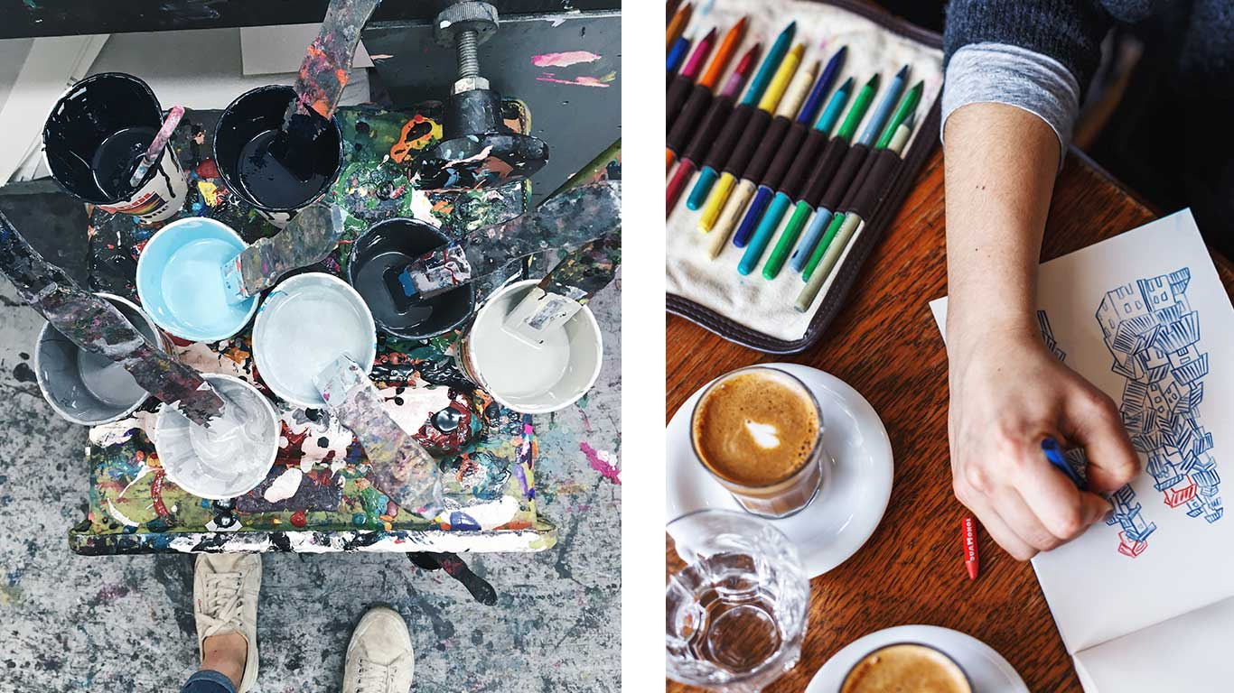 Left: Eight containers filled with printing inks. Right: Mathilda Della Torre sketching with a coffee on the table.