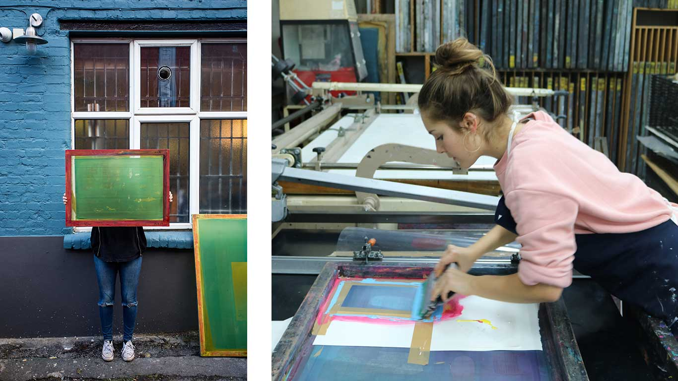 Left: Mathilda Della Torre holding up a printing screen. Right: Mathilda Della Torre screen printing.