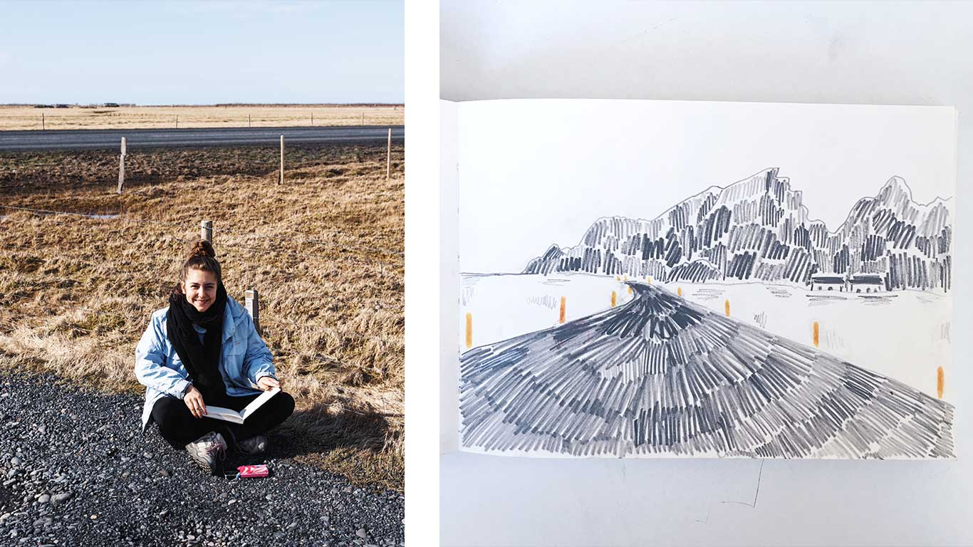 On the left is Mathilda Della Torre sitting in a field. On the right is a sketch by Mathilda Della Torre.