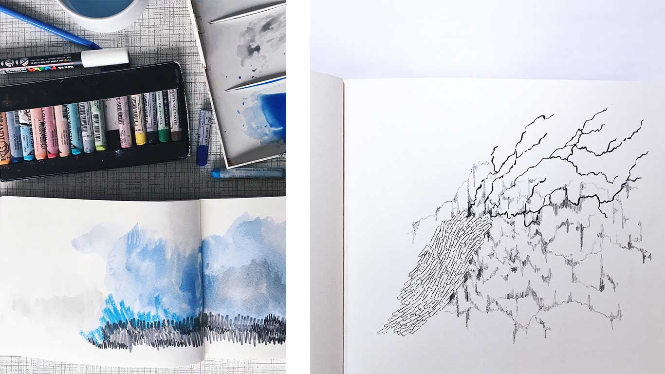 Two images. One on the left shows a pack of oil pasteles. One on the right shows a sketch in a sketchbook.