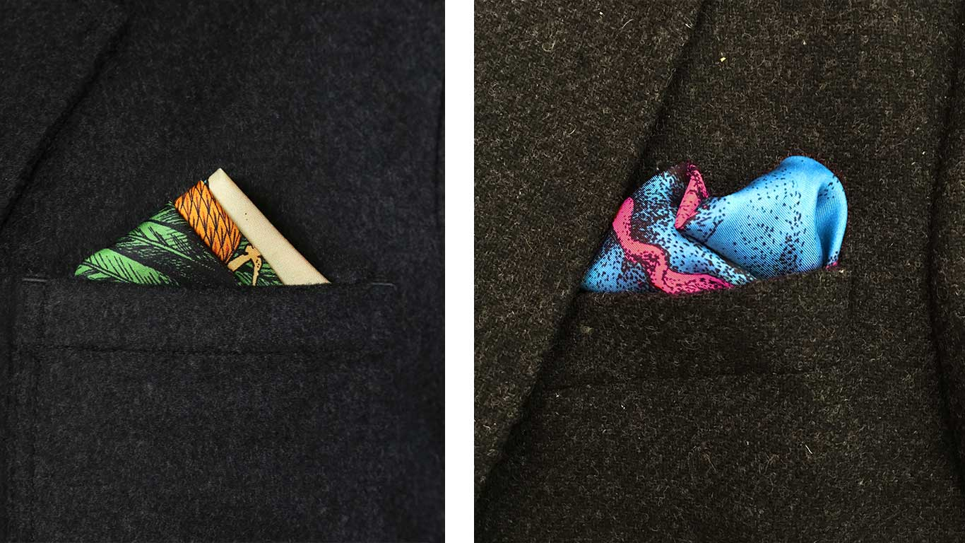 Two images of suit jackets with pocket squares.