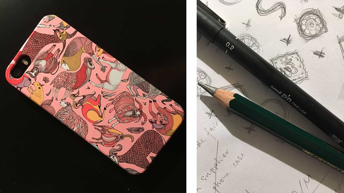 An image of a pink mobile phone case. On the right is a close up image of a pencil and technical drawing pen.