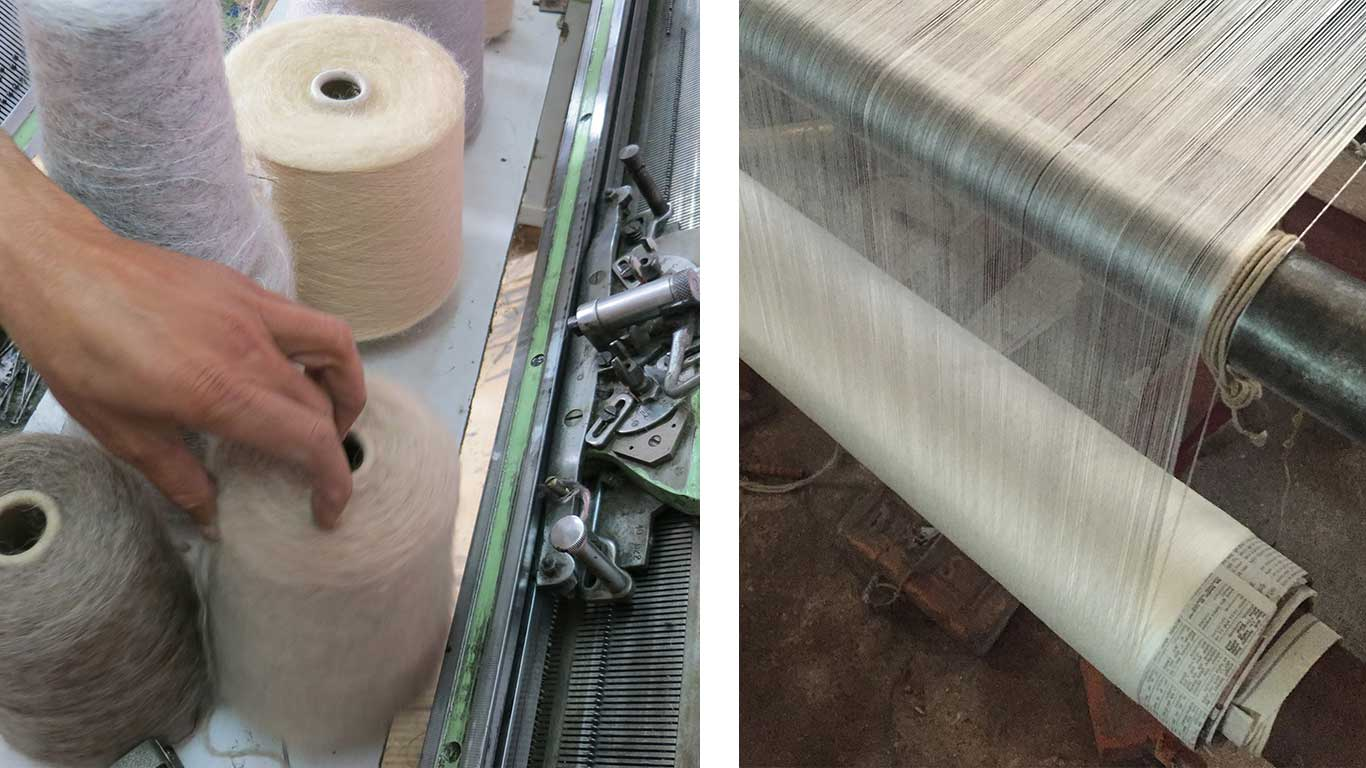 Left: A hand picking up a spool of wool from a loom. Right: A loom making weaving fabric.