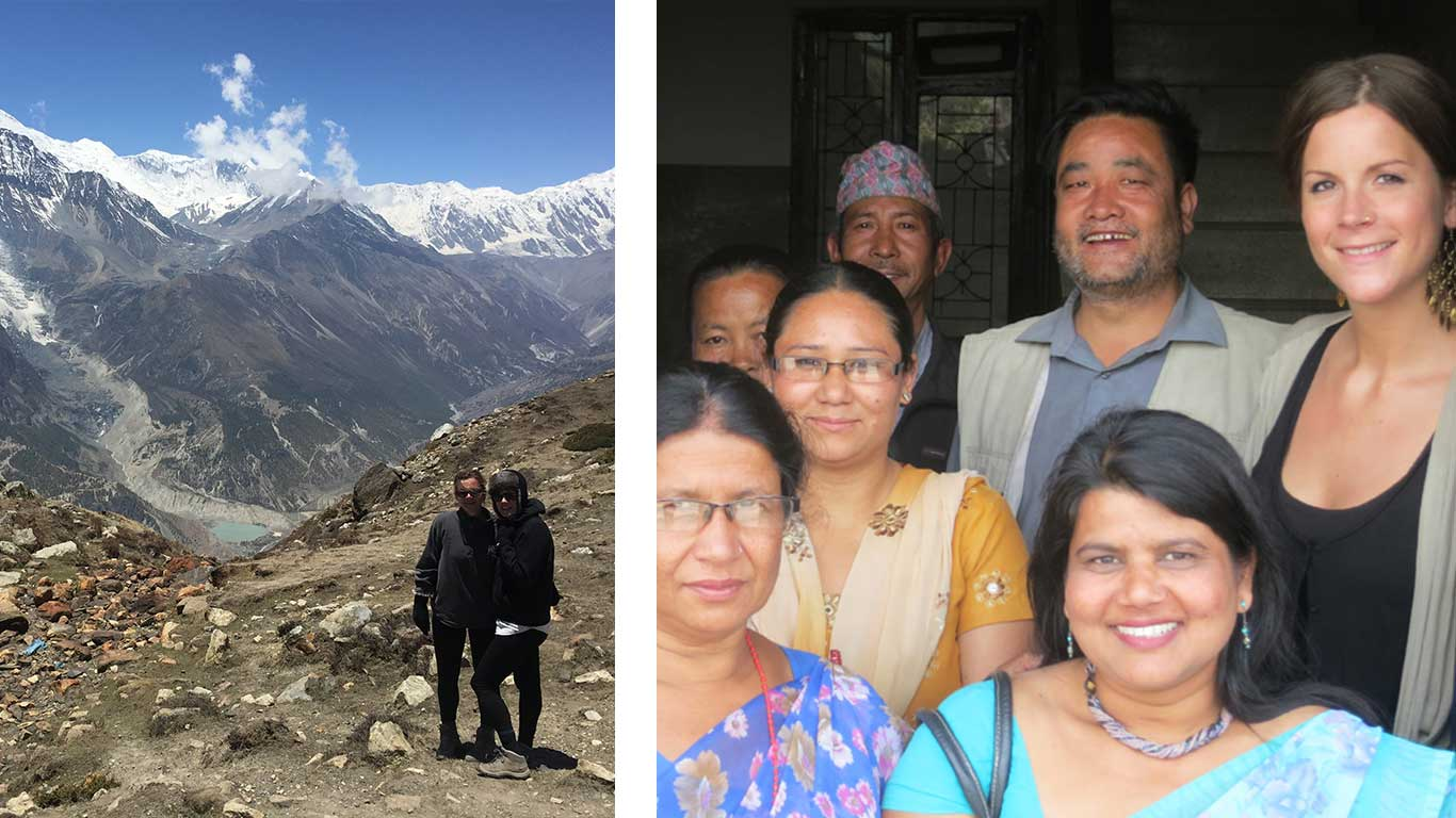 Left: Two people standing in a mountain range. Right: 5 women and 2 men posing for a photo.
