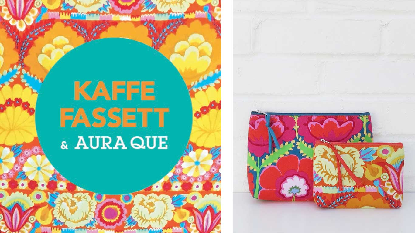 Left: Kaffe Fassett and Aura Que. Right: Medium and Small bags with bright flower print design.