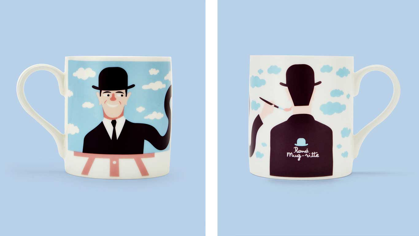 Coffee mug with an illustration of a man wearing a suit and bowler hat.
