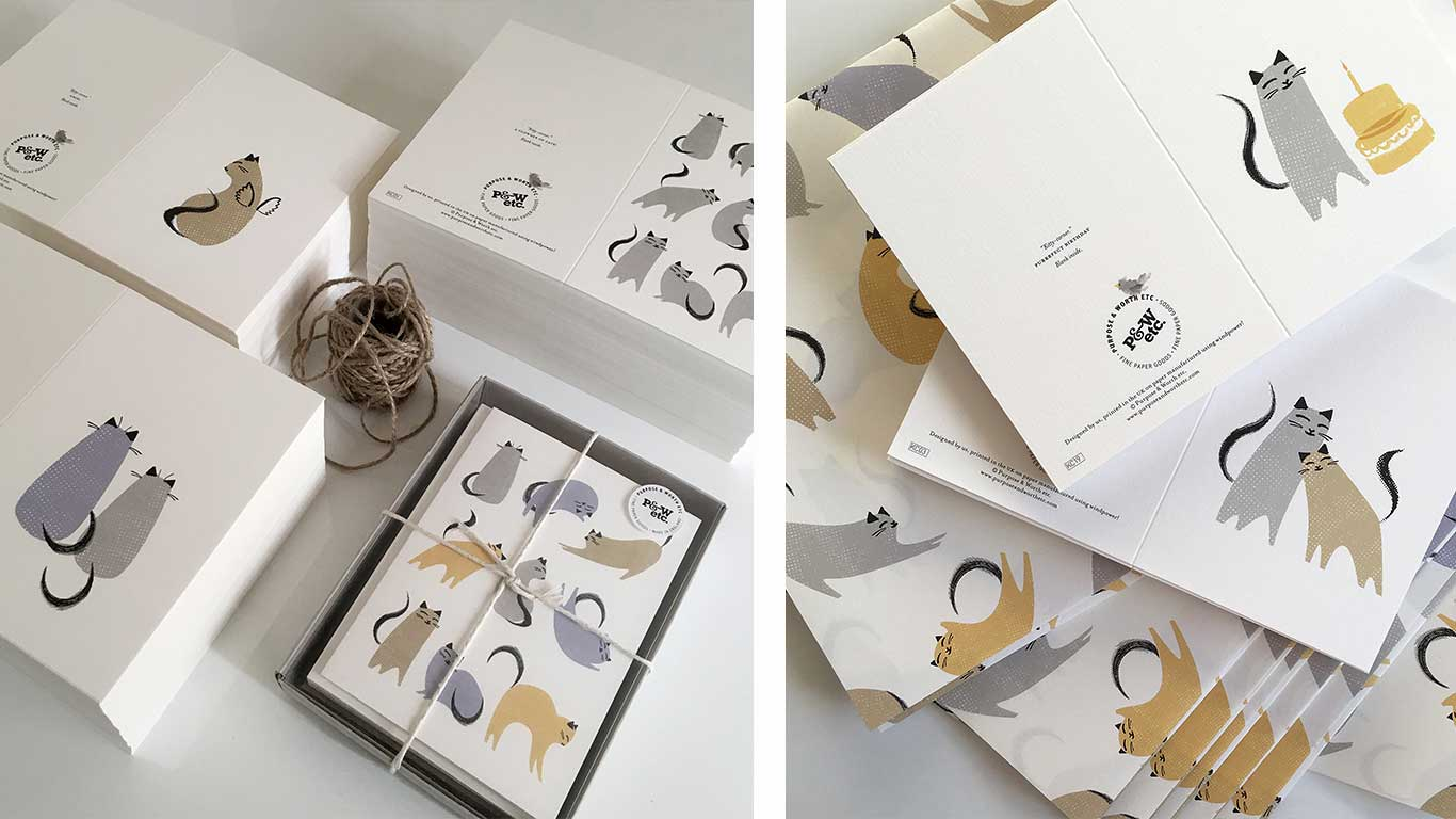 Cat illustration greeting cards.