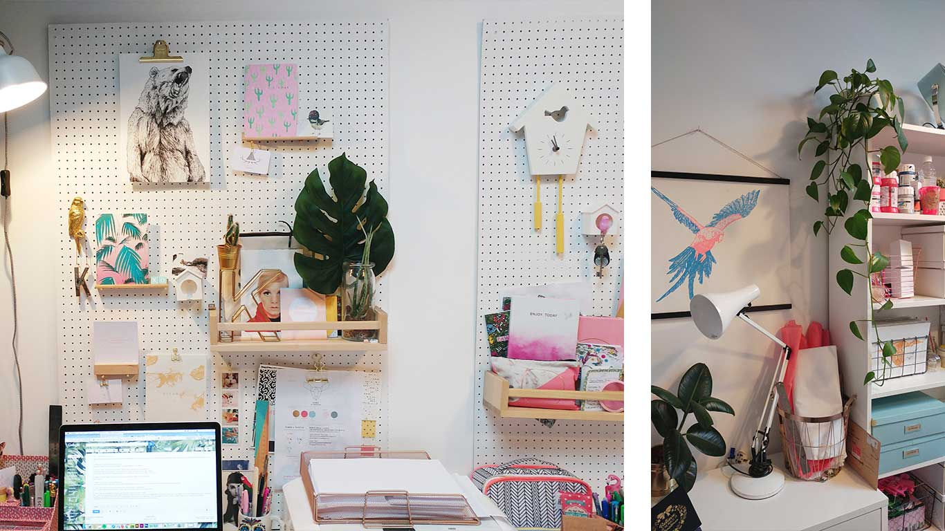 Two interior shots of the Fawn and Thistle studio