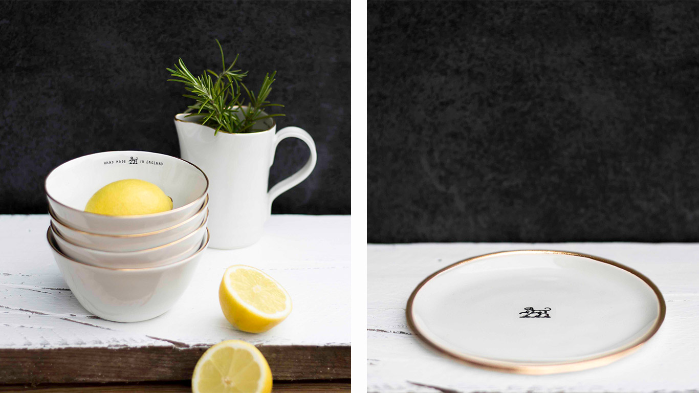 Left: Four ceramic bowls containing fresh lemons. Right: White ceramic plate on a wooden table.