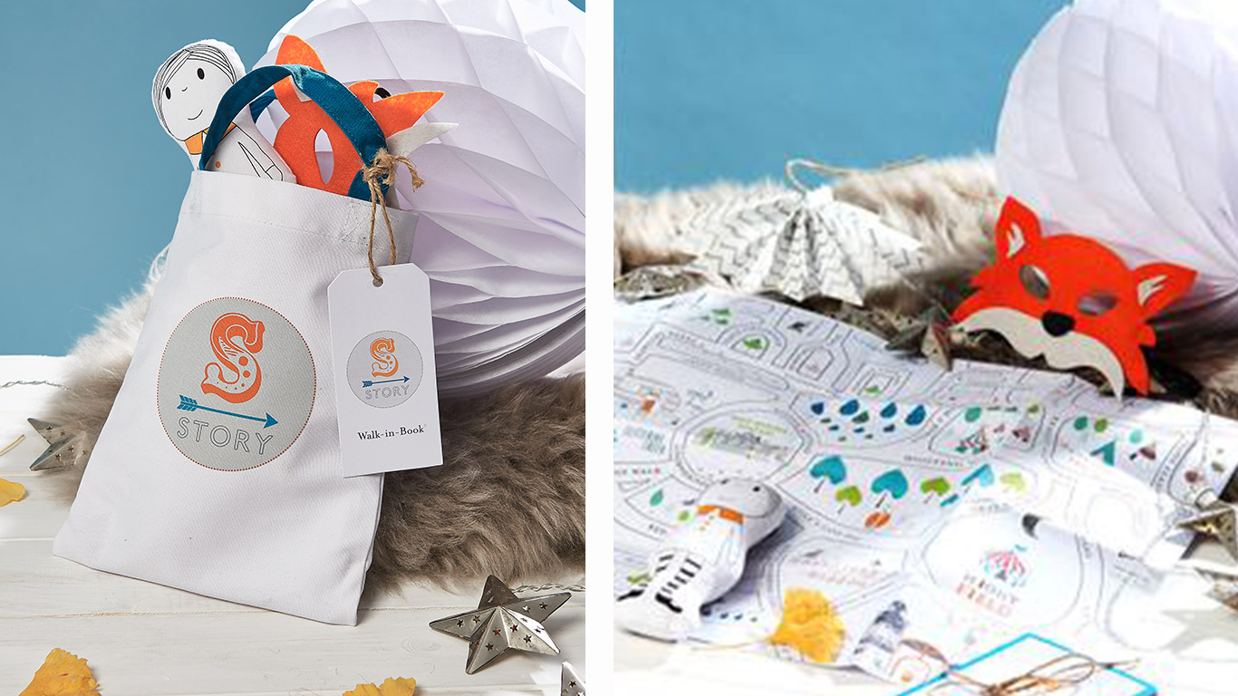 Left: Small white bag by Story. Right: Orange fox mask.