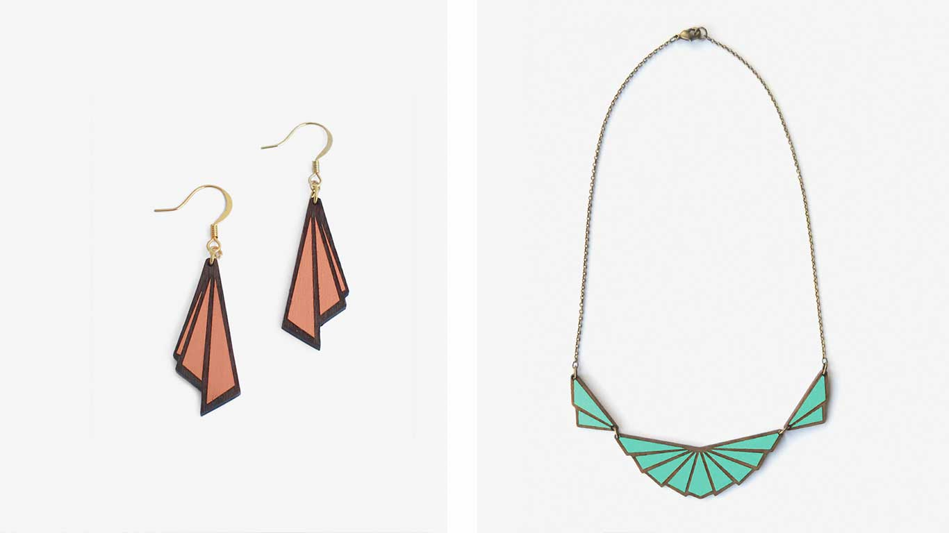 Earrings and a necklace designed by Materia Rica