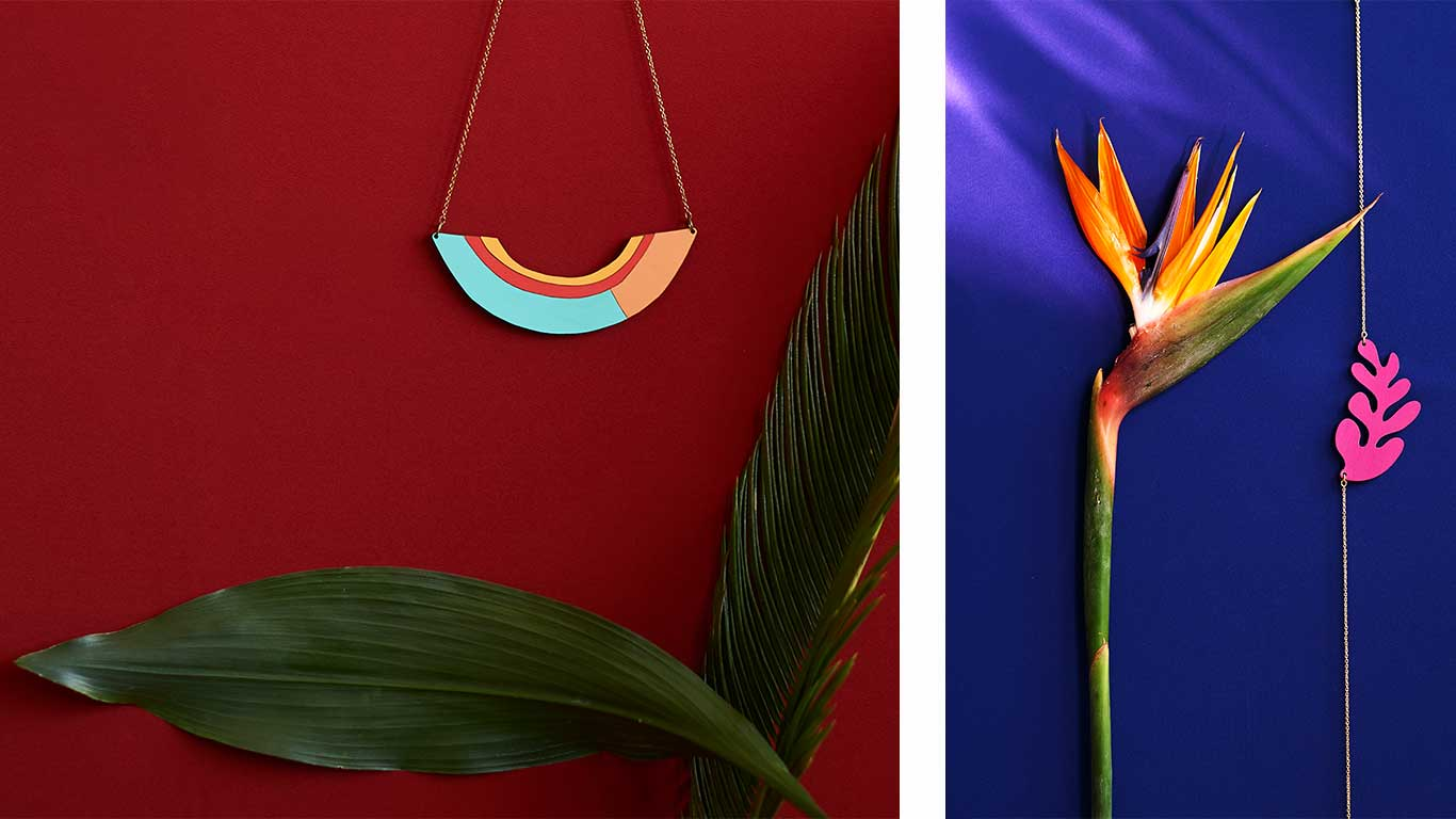 Two necklaces designed by Materia Rica