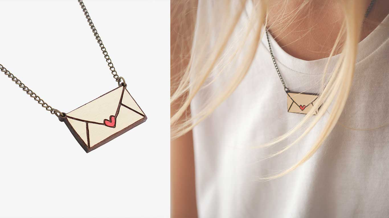 Envelope necklace designed by Materia Rica