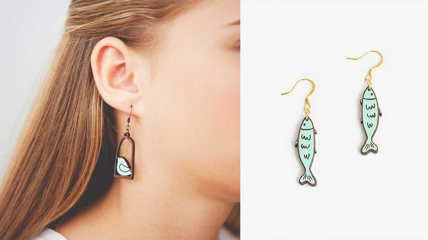 Two pairs of earrings designed by Materia Rica