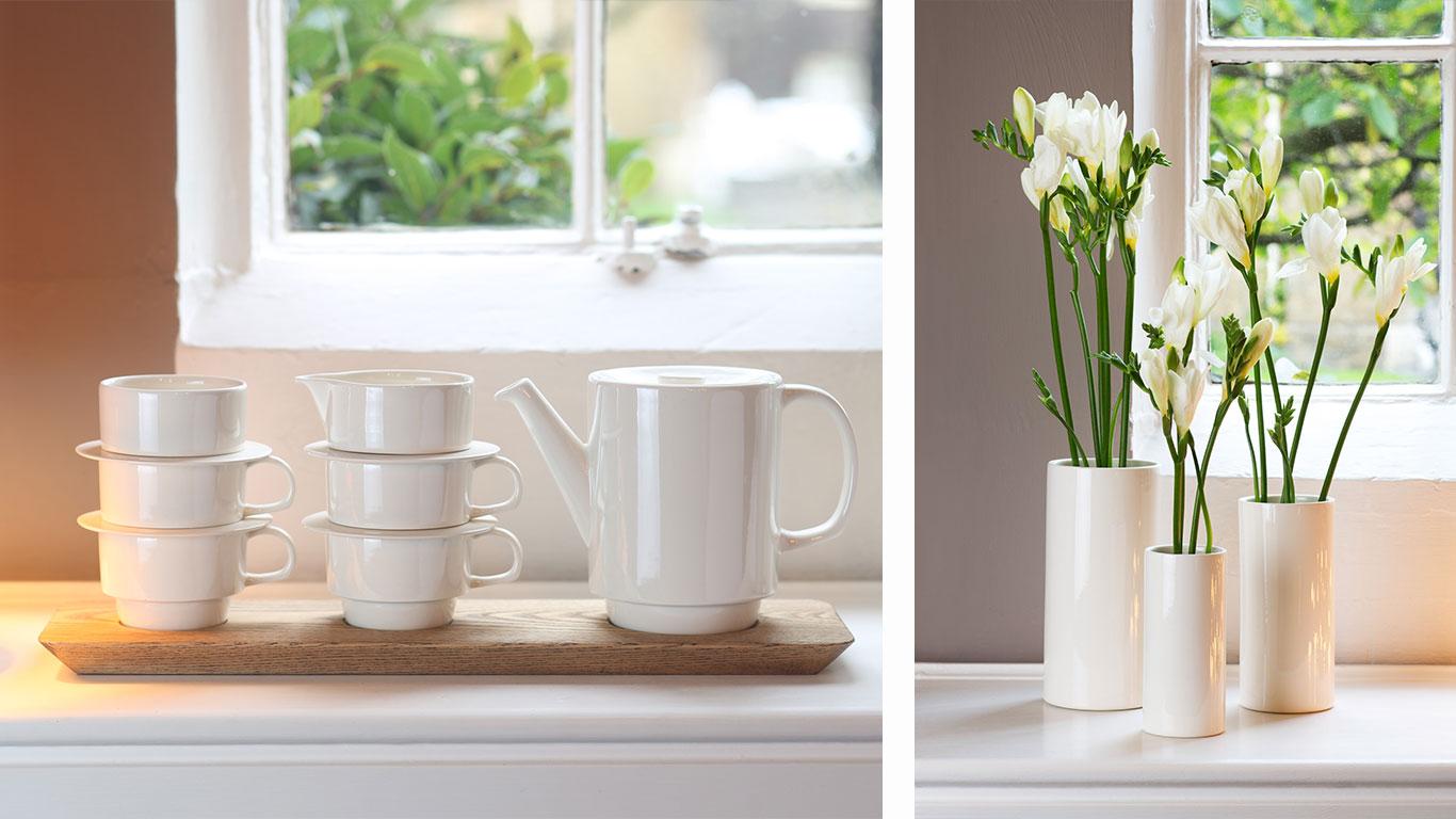 Left: Six ceramic cups and a ceramic teapot. Right: Three ceramic flower vases.