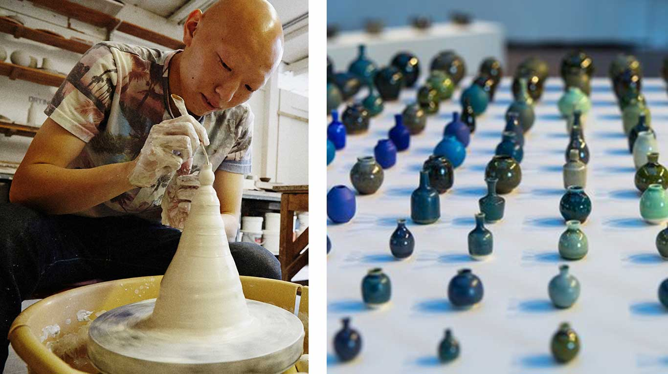 Left: Yuta Segawa working in his studio. Right: Yuta Segawa mini ceramics.
