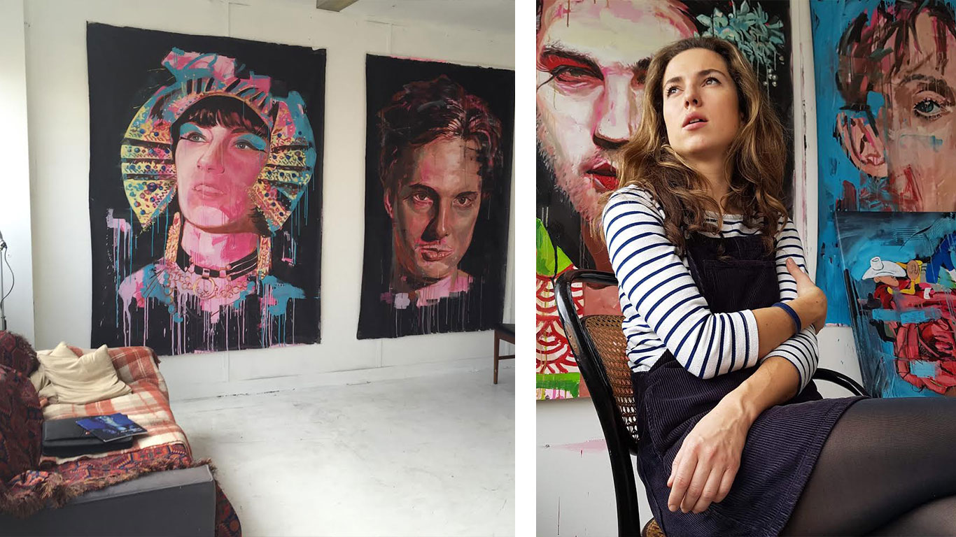 Left: Irina Starkova's studio. Right: Irina Starkova sitting on a chair.