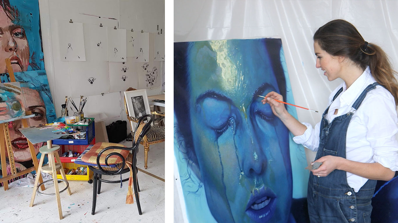 Left: Irina Starkova's studio. Right: Irina Starkova painting.