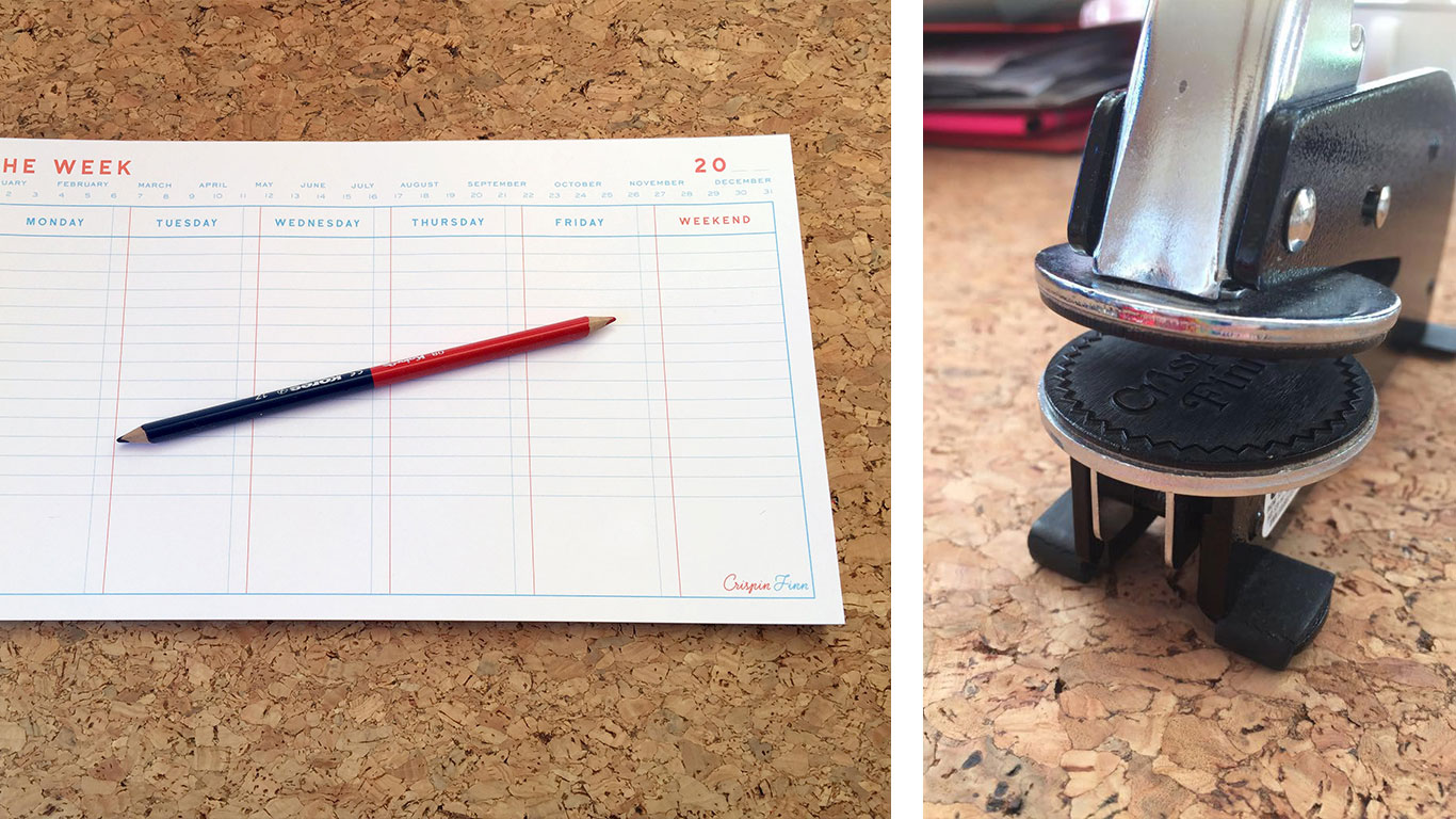 Crispin Finn planner and stamp.