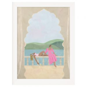Two female figures looking out to sea from a balcony, viewed through an archway