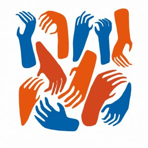Screenprinted hands in blue, red and orange