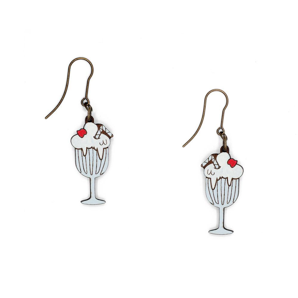 Lasercut wood milkshake earrings