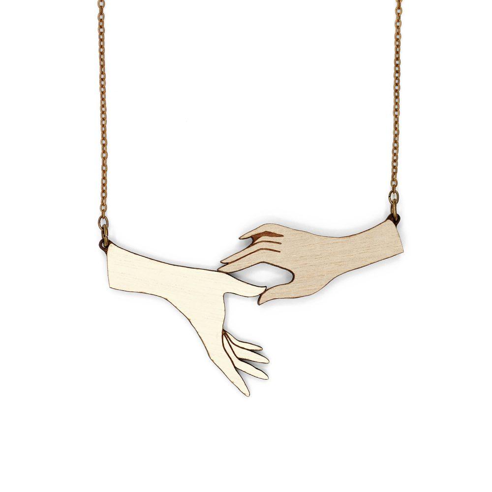 Lasercut wood hands necklace