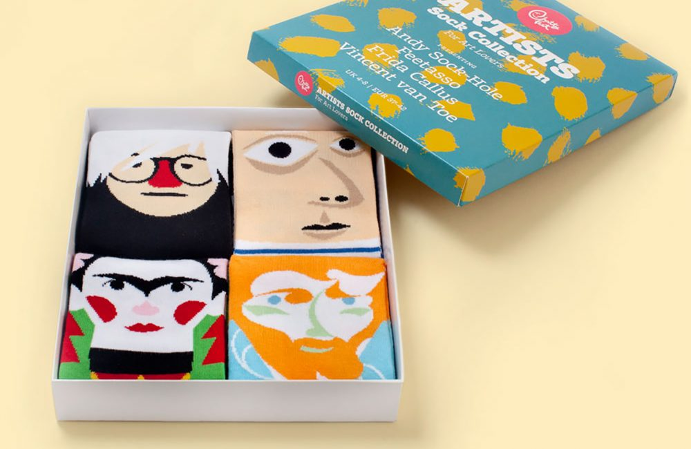 Boxed set of 4 socks with artists' faces