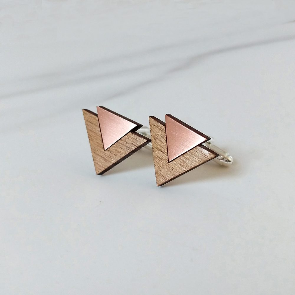 Bronze and brown cufflinks