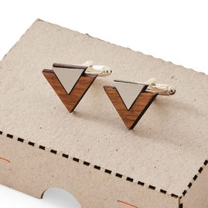 White and brown cufflinks