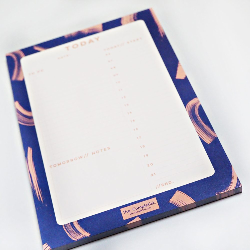 Cool stationery - daily planner pad with blue brushstrokes design
